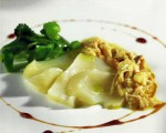 Receta: Láminas de bacalao sobre gelatina de pimientos y yogur de arbequina