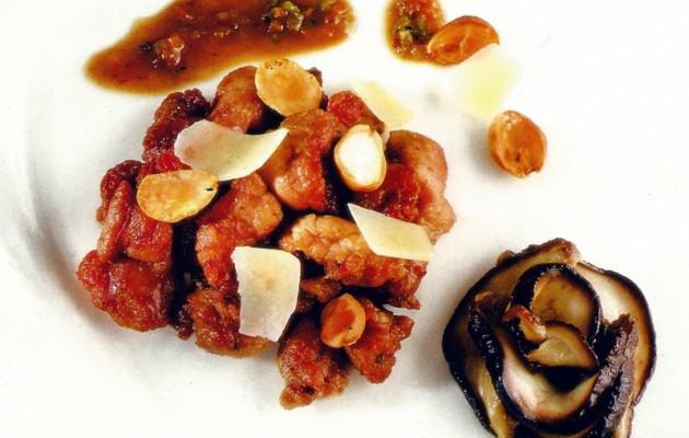 Receta: Mollejas de cordero salteadas con láminas de queso