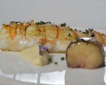 Receta: Cigala asada con caldo reducido y crema de coliflor