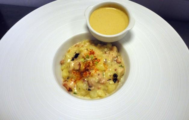 Receta: Falso risotto de patata y pulpo con ali oli de mejillones