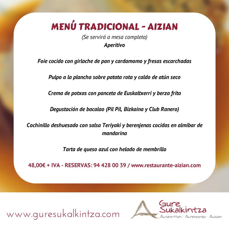 menus restaurante aizian bilbao