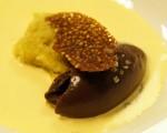 Receta: Sopa de Azafrán, bizcocho de aceite de oliva y sorbete de cacao