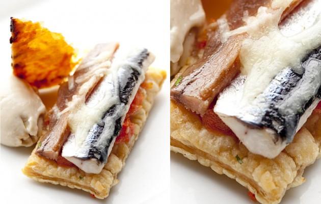 Receta: Pizza de anchoas al Txakoli con Gelée de aceitunas negras
