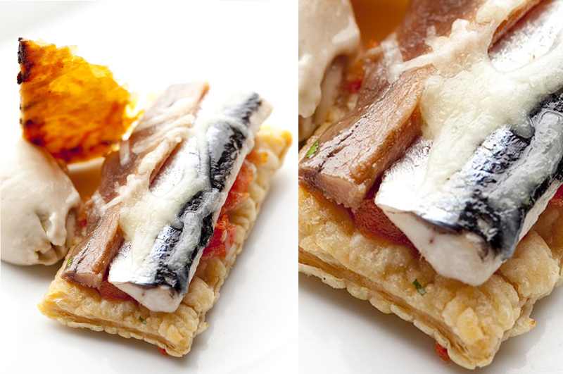 Pizza de anchoas al Txakolí con Gelee de aceitunas negras