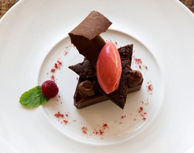 texturas de chocolate y frambuesa de Aretxondo