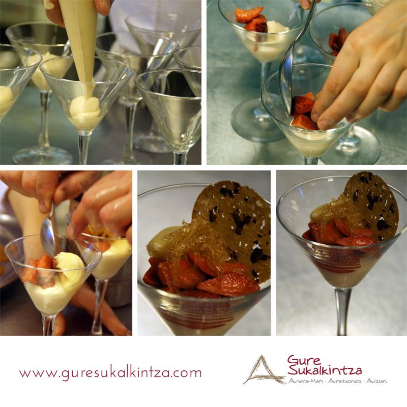 Pasos Fresas marinadas sobre crema de almendras y helado de vinagre de Módena