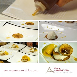 Pasos Mousse de yogur griego sobre hojas de frutas