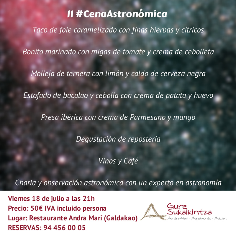 Menú II Cena Astronómica Andra Mari