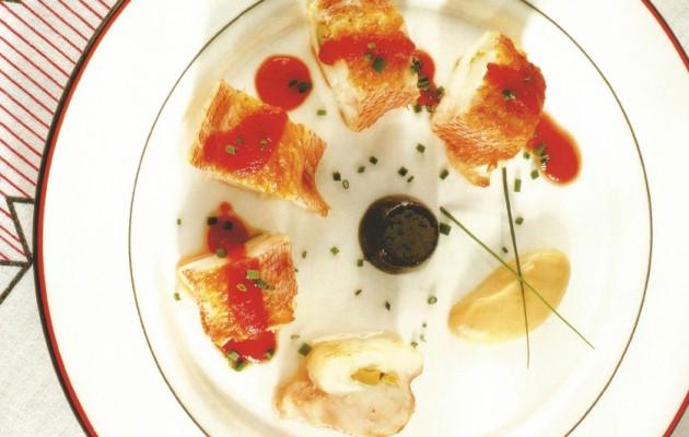 Receta: Kabratxo de roca con gelatina de aceitunas negras y mousse de anchoas en salazón