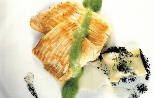 Receta: Aleta de raya con ravioli de pulpo encebollado y pil pil de brócoli
