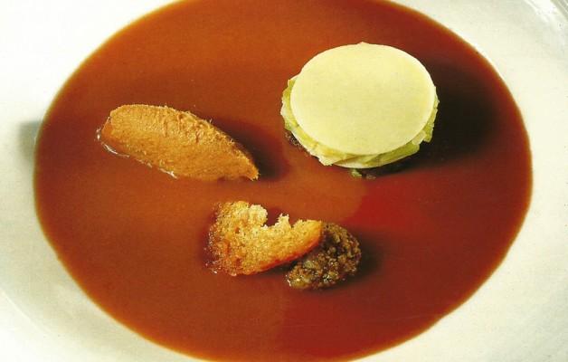 Receta: Crema de alubias rojas con mousse de chorizo y lasagna de morcilla