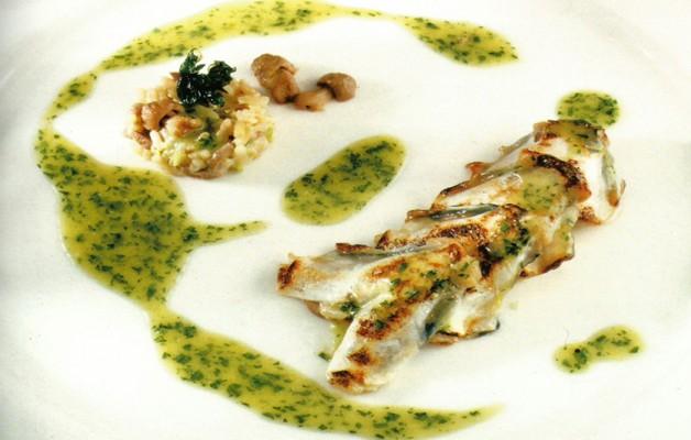 Receta: Kokotxas de merluza en pil pil de perejil y risotto de perretxikos