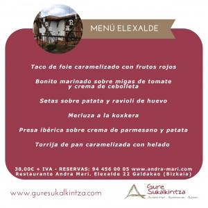 Menú Elexalde restaurante Andra Mari
