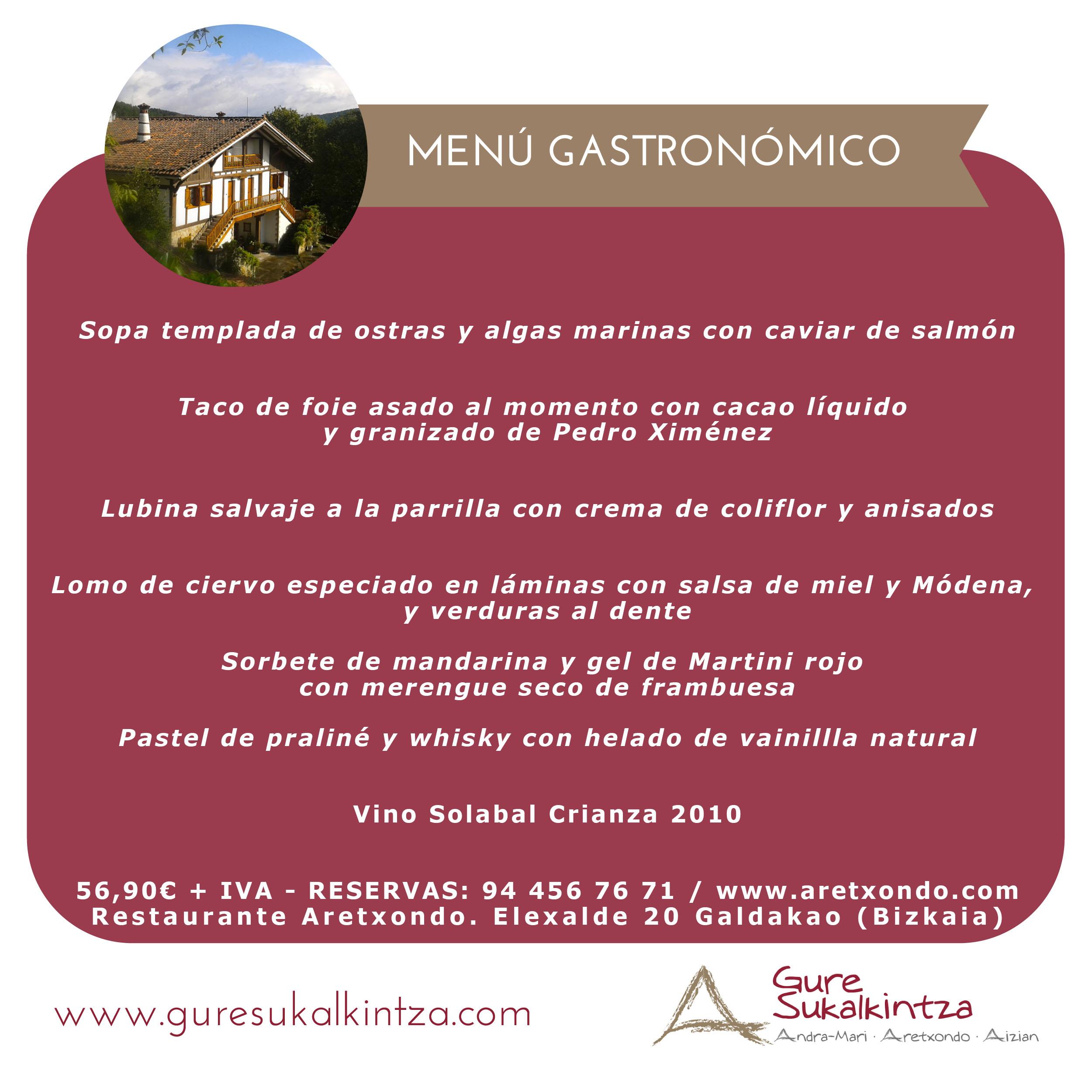 Menú Gastronómico restaurante Aretxondo