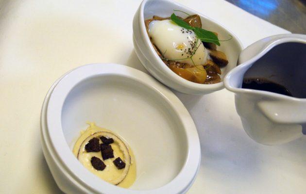 Receta: Hongos a la plancha con huevo a baja temperatura y royal de foie en dos tiempos