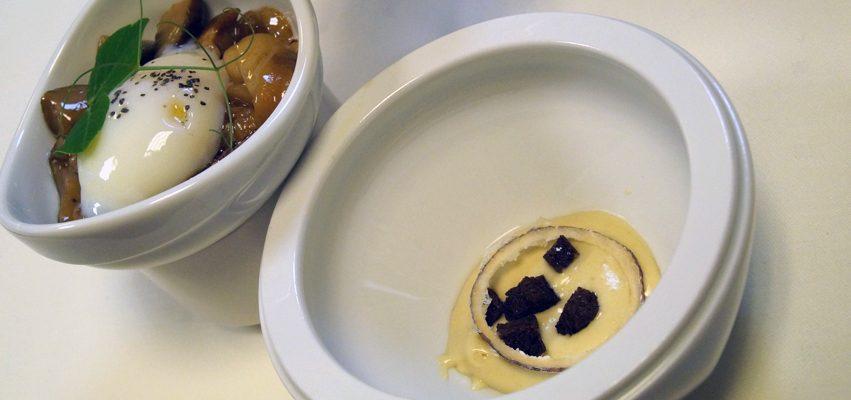 Hongos a la plancha con huevo a baja temperatura y royal de foie en dos tiempos
