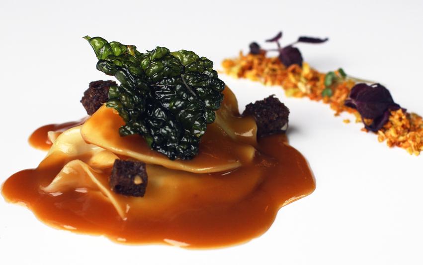 ravioli lumagorri restaurante Aizian Bilbao