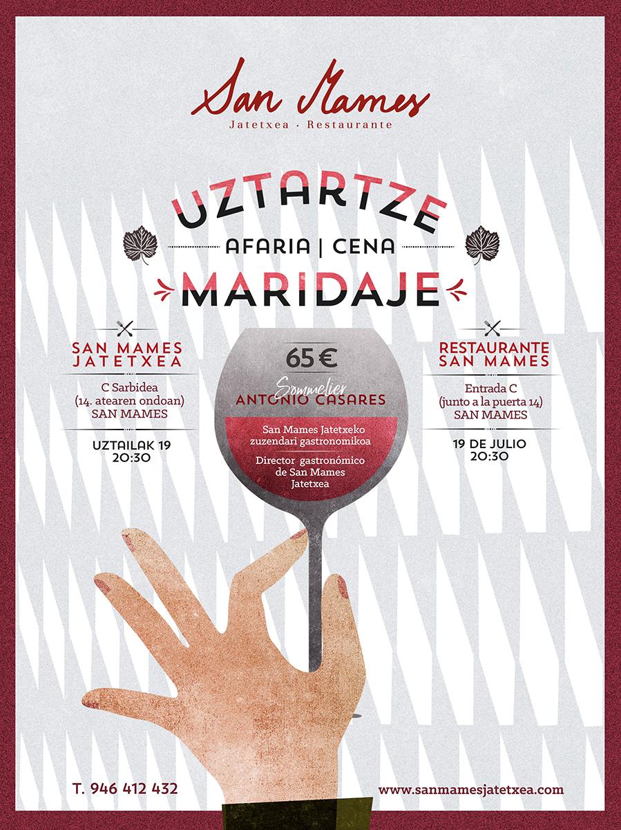 Cartel Cena Maridaje San Mames Jatetxea