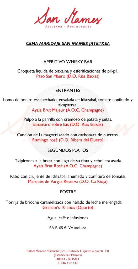 Cena Maridaje San Mames Jatetxea castellano