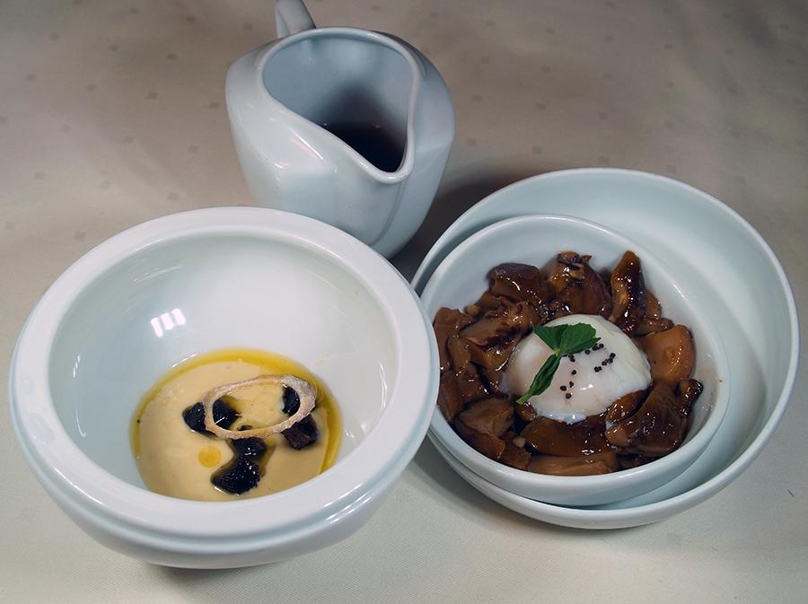 Hongos salteados, huevo a baja temperatura y royal de foie en dos tiempos restaurante Aizian Bilbao