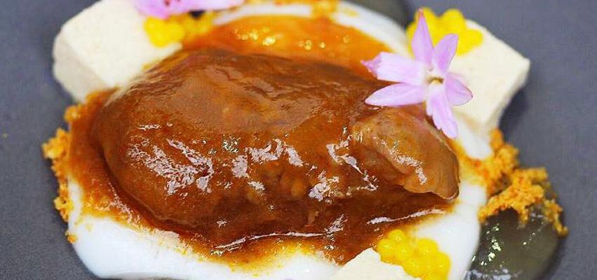 Receta de castañuela ibérica, coco y yuzu